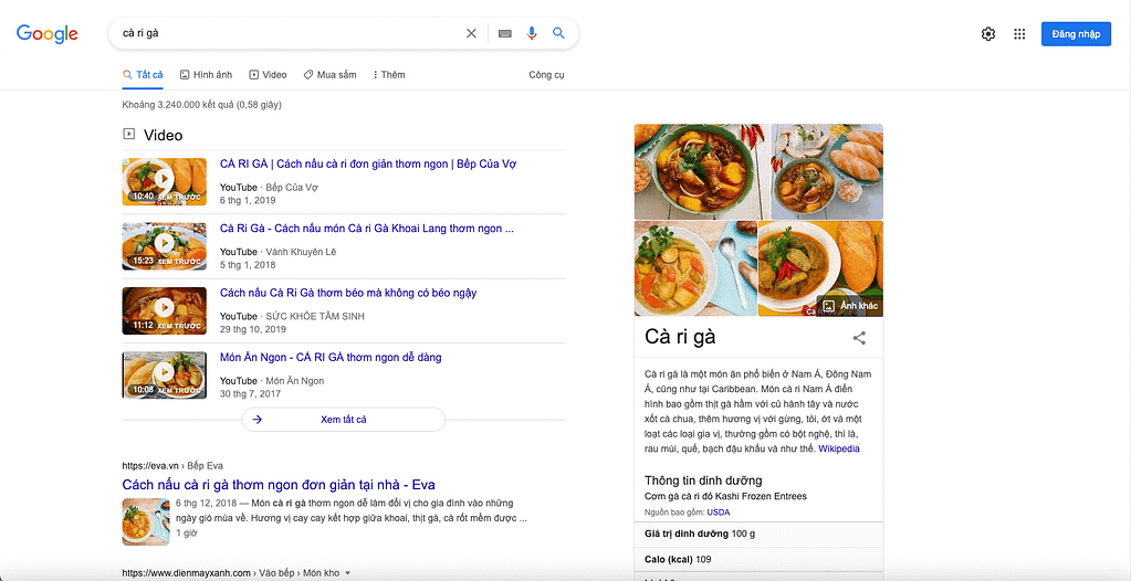 Thẻ Knowledge Graph Snippets
