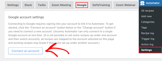 Kết nối account Google