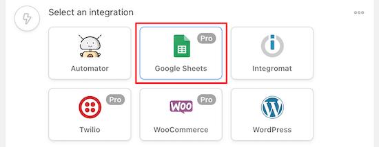 Chọn Google Sheets