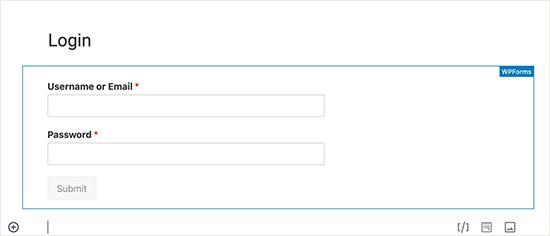 Bản xem trước biểu mẫu đăng nhập