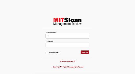 Trang đăng nhập của MITSLoan