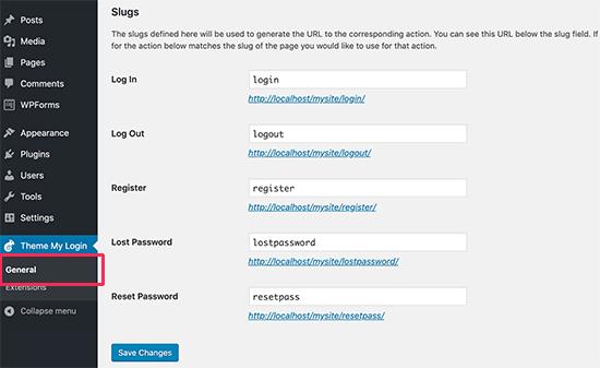 Sửa đổi URL đăng nhập mặc định của Theme My Login