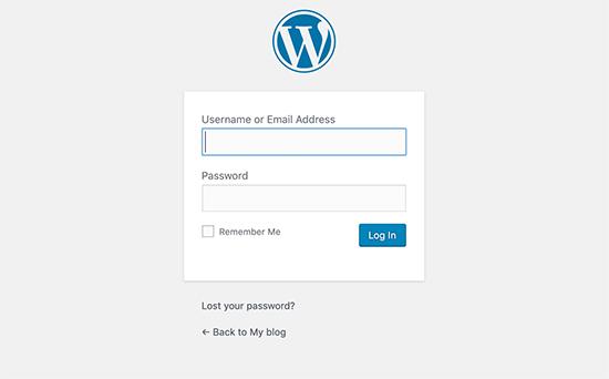 Giao diện đăng nhập WordPress mặc định
