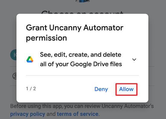 Cho phép truy cập Google Account