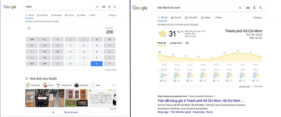 Ví dụ về Snippets Do Google Sở Hữu